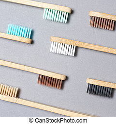 toothbrushes., différent, couleur, ensemble, bambou