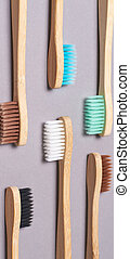 toothbrushes., ensemble, couleur, bambou, différent