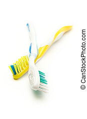 Toothbrushes on the white background