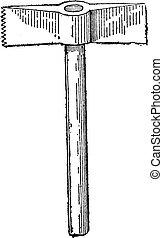 Toothed Chisel-end Hammer, vintage engraving