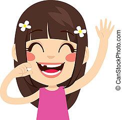 Toothless Happy Girl - Cute little girl happy holding fallen...