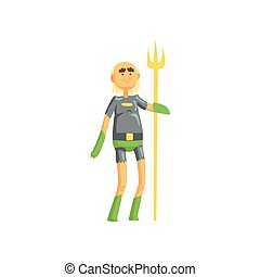 Toothless old man superhero standing and holding golden wand. Funny cartoon elderly character in hero costume with underpants and gloves. Isolated flat vector