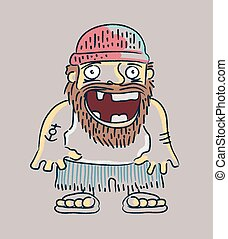 Hand drawn vector illustration or drawing of a cartoon toothles sailor