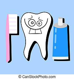 Toothpaste and healthy tooth vector illustration. Dentist