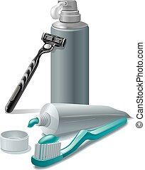 toothpaste and shaving