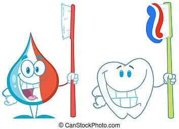 Toothpaste And Tooth. Collection