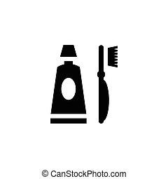 Toothpaste and toothbrush icon