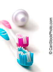 toothpaste and toothbrushes closeup. dental care