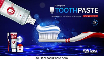 Toothpaste, brush, dental floss and tooth banner