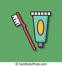 Toothpaste color line icon