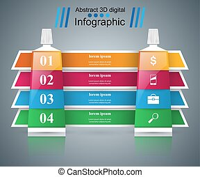 Toothpaste, cream tube - business infographic.
