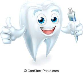 toothpaste, dental, dente, segurando, mascote
