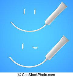 Toothpaste - White Smile of toothpaste. Illustration on blue...