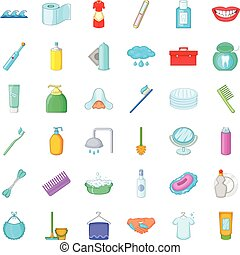 Toothpaste icons set, cartoon style