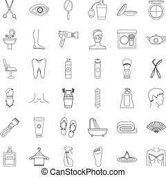Toothpaste icons set, outline style
