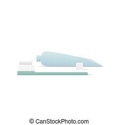 toothpaste, stomatologiczny, ilustracja, ząb, tło., wektor, szczotka, biały, concept.