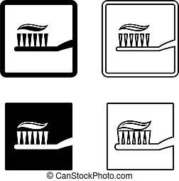 Toothpaste Toothbrush Icon Vector Illustration