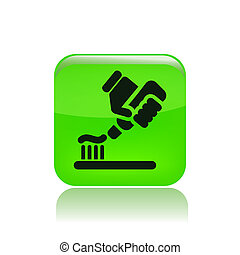 Toothpaste - Vector illustration of modern glossy green icon...