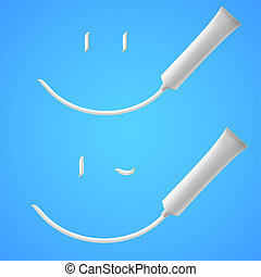 Toothpaste - White Smile of toothpaste. Illustration on blue...