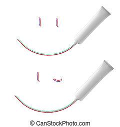 Toothpaste - White Smile of toothpaste. Illustration on...