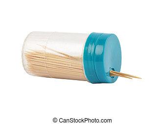 Toothpick box on white background