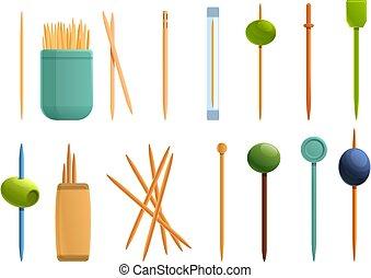 Toothpick icons set, cartoon style