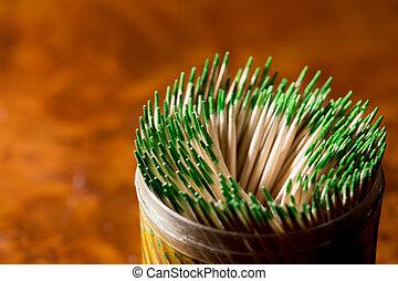 toothpicks as background. macro