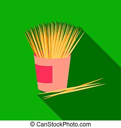 Toothpicks icon in flat style isolated on white background.