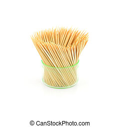 Toothpicks in transparent plastic box on a white background