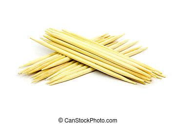 toothpicks on white background, isolated