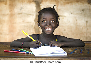 toothy, école, notes., elle, grand, africaine, écriture,...