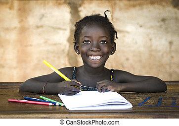 toothy, 学校, ノート。, 彼女, 大きい, アフリカ, 執筆, girl., symbol:, 素晴らしい, 女生徒, 微笑, 教育