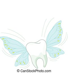 Toothy Fly - Cartoon Tooth Character Flying in the air