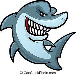 toothy, haai, karakter, hongerige , glimlachen, spotprent