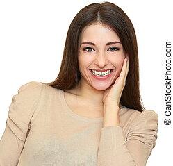 toothy, isolado, olhar, rir, fundo, selvagem, sorrizo,...