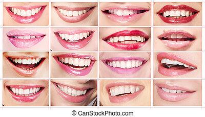 toothy, jogo, sorrisos, lábios, mulheres, batons