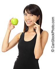 toothy, kobieta, jabłko, zielony, asian, uśmiech