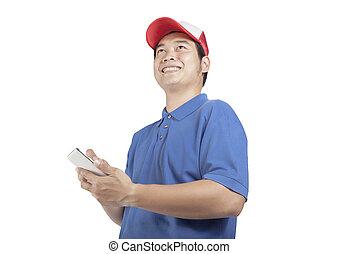 toothy, lächelndes gesicht, von, lieferbote, und, klug, edv, in, hand, vorbereiten, für, nehmen, kunde, bestellung, freigestellt, weißer hintergrund
