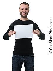toothy, listek, pokaz, papier, czysty, uśmiechnięty człowiek