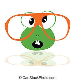 toothy, rana, occhiali
