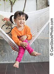 toothy, relaxante, crad, retrato, sorrindo, crianças, roupas