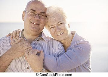 toothy, senior, małżeństwo, uśmiech