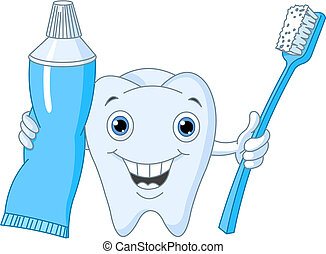 Cartoon Tooth Character holding toothbrush and toothpaste
