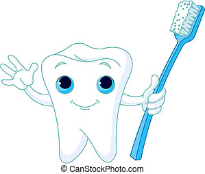 Toothy Smile - Cartoon Tooth Character holding toothbrush