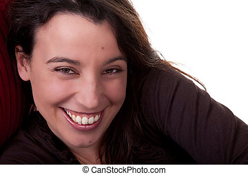 Toothy Smile - Portrait of a beautiful woman smiling....