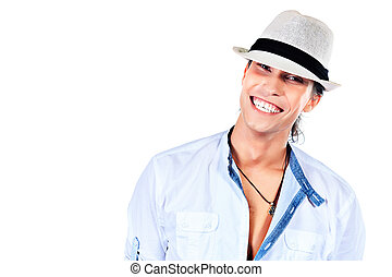toothy smile - Portrait of a smiling young man in elegant...