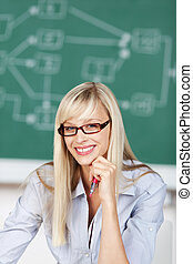 Toothy smile teacher - Toothy smile woman looking at...