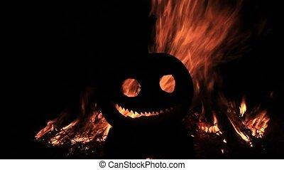 toothy, tête, brûler, fond, sourire, citrouille