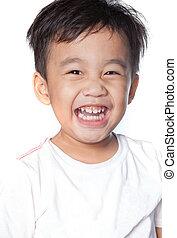 toothy, tiro cabeça, cima, rosto, asiático, fim, sorrindo, crianças