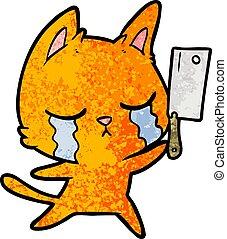topór rzeźniczy, rysunek, płacz, kot
